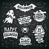 Kreide auf Tafel Labels Halloween Hintergrund