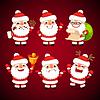 Reihe von Comic-Weihnachtsmann in verschiedenen Posen