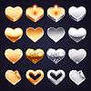 Set von goldenen und silbernen Herzen
