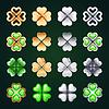 Goldenen und Silbernen vierblättrige Kleeblätter