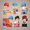 Set Cartoon Arbeiter an ihren Arbeitstische