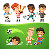 Cartoon Soccer Players and Referee | Stock Vector Graphics