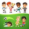 Мультяшный Футбол Игроки и рефери | Векторный клипарт