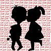 Карточка с мультяшныйа силуэты мальчик и девочка | Векторный клипарт