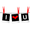 I love you concept with photo frames hanging on rope | 向量插图
