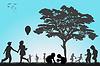 ID 4488088 | Sylwetki dzieci bawiące się na zewnątrz | Klipart wektorowy | KLIPARTO