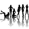 Черные сексуальные силуэты женщин с тенями | Векторный клипарт