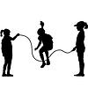 Дети силуэты прыжки со скакалкой | Векторный клипарт