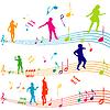 Музыка с детьми примечание силуэты танцы | Векторный клипарт