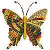 Patchworkstoff mit Schmetterling