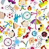 Бесшовные с игрушками, фон для малышей | Векторный клипарт