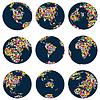 Weltkugeln mit Kontinenten der Welt Flags gemacht