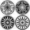 Черные и белые круглые украшения в этническом стиле | Векторный клипарт