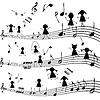Музыка со стилизованными детей силуэты примечание | Векторный клипарт