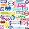 Gumowe kolorowe znaczki z wiadomości sprzedaży | Stock Vector Graphics