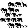 Фон со слонами силуэты | Векторный клипарт