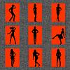 Hintergrund mit Satz von sexy Frauen Silhouetten