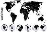 Schwarz Weltkarte mit einem Satz von Erde Globen