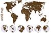 Карта Браун мир с шарами Земли | Векторный клипарт