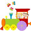 Дети фон с паровым двигателем | Векторный клипарт