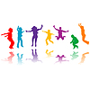 Grupa dzieci sylwetki skoki | Stock Vector Graphics