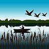 Krajobraz z rybaka w łodzi | Stock Vector Graphics