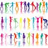 Набор цветных детей силуэты играть | Векторный клипарт
