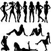 Набор сексуальные силуэты женщин | Векторный клипарт