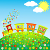 Цветные игрушечный поезд со счастливыми детьми | Векторный клипарт