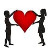 Zwei Kinder Silhouetten mit Herz