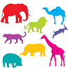 Set von afrikanischen Tieren, und gruppierten Objekten