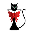 Czarny kot stylizowany vwith czerwoną wstążką | Stock Illustration
