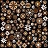 Brązowe kwiaty i okręgi | Stock Illustration