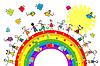 Doodle дети, играя на радуге | Векторный клипарт