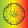 Marihuana-Stempel auf Rastafari Hintergrund