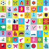 Pattern with toys and kids for kindergarten | Stock Vector Graphics