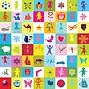 Muster mit Spielzeug und Kinder für den Kindergarten