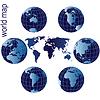 Set von Erde Globen und Weltkarte