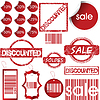 Set of red labels, tags, stamps and stickers | Stock Vector Graphics