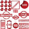 Набор красные ярлыки, бирки, штампы и наклейки | Векторный клипарт