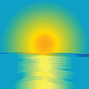 Восход и океан, абстрактное представление | Векторный клипарт