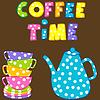 Czas kawy z ułożonych kolorowych kubków i kawy | Stock Vector Graphics