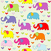 Векторный клипарт: Мультяшный цвета слонов бесшовные модели