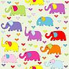Cartoon bez szwu wzór kolorowe słonie | Stock Vector Graphics