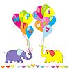 Векторный клипарт: Днем приглашение День рождения с мультяшныйа слонов