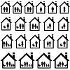 Векторный клипарт: Пиктограммы семей в домах