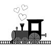 Love card with locomotive and dotted hearts | Stock Vector Graphics