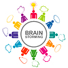 Colorful brainstorming concept with teamwork   Stock Vector Graphics