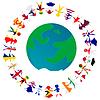 Peacce концепция с глобусом Земли и, взявшись за руки | Векторный клипарт