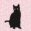 Czarny kot sylweta | Stock Vector Graphics